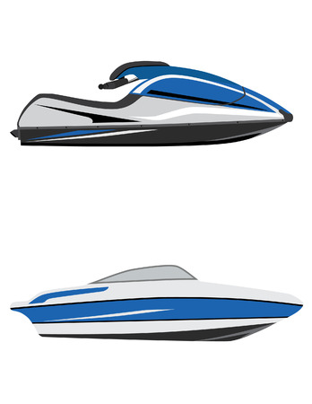 Blue fast water scooter and boat, luxury boat, jet ski, water sport, water transport
