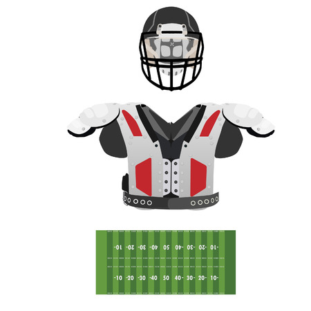 american football helmet set: American football field, helmet and armour vector set, sport equipment, national sport
