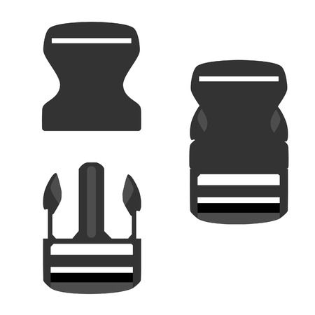 Grey backpack buckle opened and closed vector icon set isolated, belt buckle, safety buckle, bag buckle Vectores