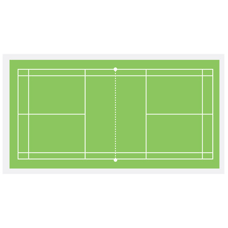 badminton: Green badminton court, badminton net, badminton field, vector isolated