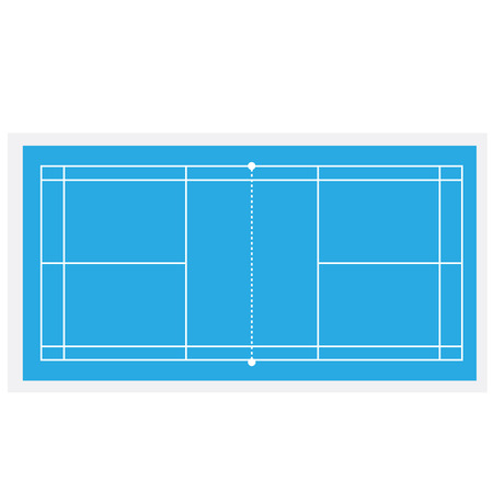 Blue badminton court, badminton net, badminton field, vector isolated
