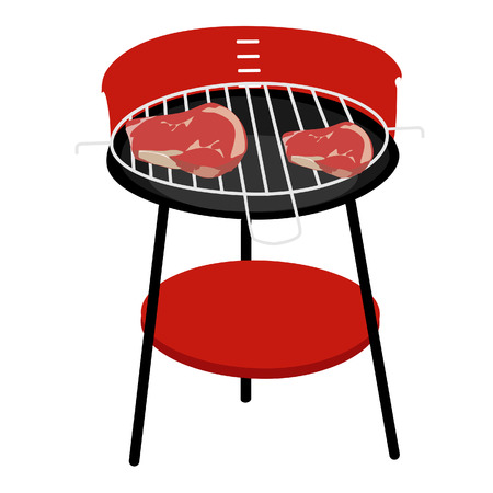 Barbecue grill with two steaks vector isolated, barbeque family, barbeque party Vector