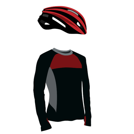 sports uniform: Red bicycle helmet and shirt vector set, sports uniform, sport equipment, biking clothes, bicycle clothes Illustration