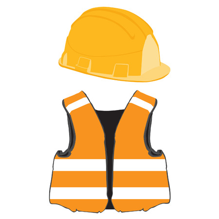 Orange building helmet and vest vector set, protective workwear, worker
