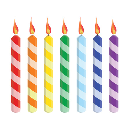 Seven striped birthday candles red, orange, yellow, green, blue, purple, vector set isolated