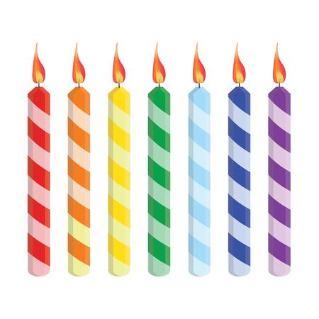 torta candeline: Sette candeline di compleanno a strisce rosso, arancione, giallo, verde, blu, viola, vector set isolato
