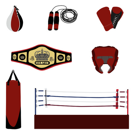 boxing equipment: Red boxing bag punching bag, boxing ring, speed bag, jumping rope, boxing gloves and boxing helmet,sport equipment, boxing equipment