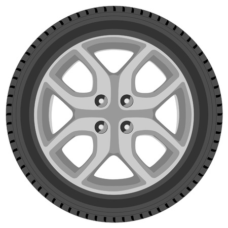 ring road: Car wheel vector isolated, car tire, transport wheel