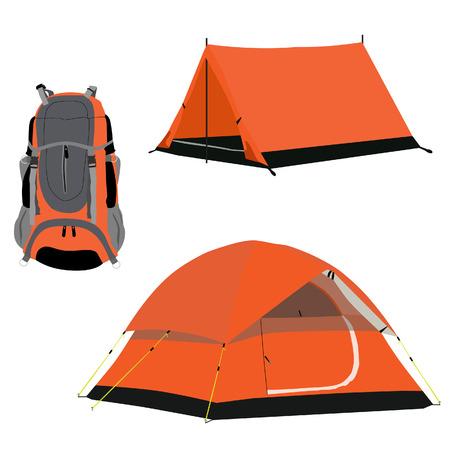 mochila de viaje: Naranja tienda de campa�a y los viajes mochila vector conjunto aislado, cosas de los viajeros, equipos Vectores