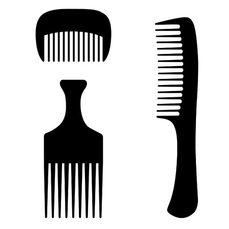 combs: Three black different hairdresser, barber hair combs vector set isolated