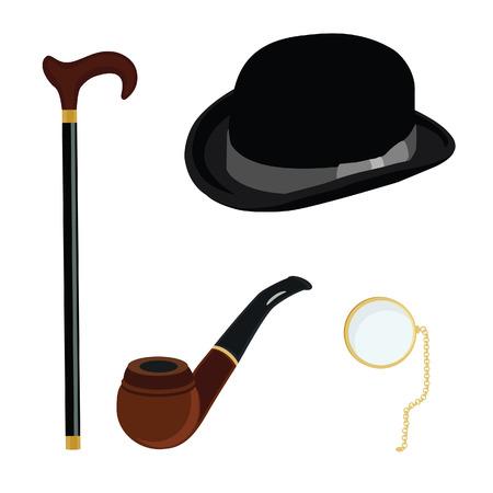 bowler hat: Black gentleman bowler hat, golden monocle,brown smoking pipe and walking stick  vector set
