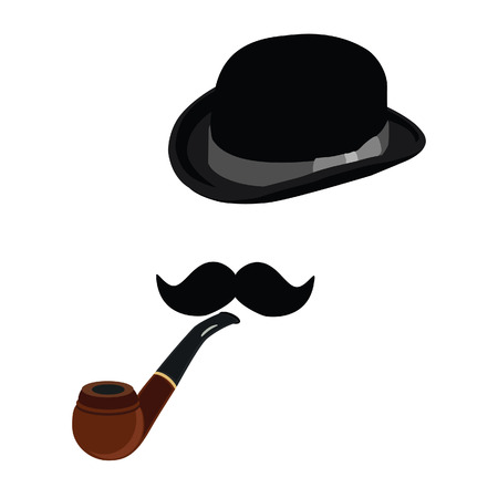 derby hats: Black bowler hat, smoking pipe and black mustache vector set, gentleman, hipster Illustration