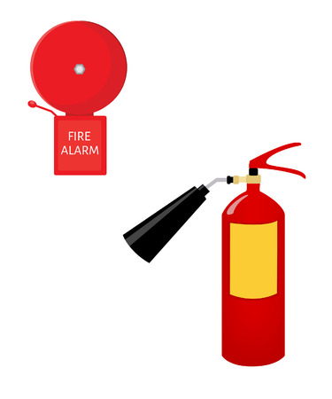 suppression: Red fire extinguisher and alarm bell vector set isolated