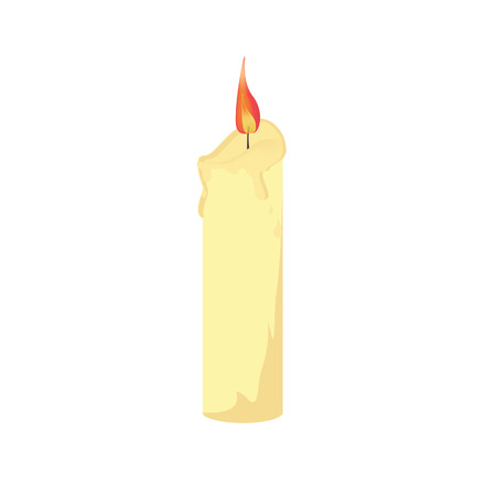 wax: Wax burning candle isolated vector, church candle Illustration