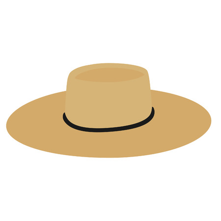 Straw traditional hat, chupalla chilean hat, vector isolated
