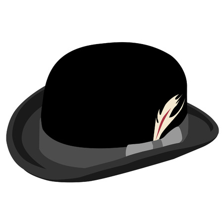 derby hats: Black bowler hat with feather vector isolated on white, retro hat, vintage hat