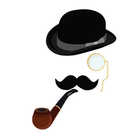 Black gentleman bowler hat, smoking pipe,mustache and  golden monocle vector set Illustration