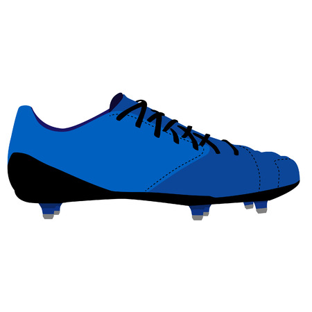 spiked: Blue spiked football shoe, football boots, american football shoe, sport shoe, vector isolated