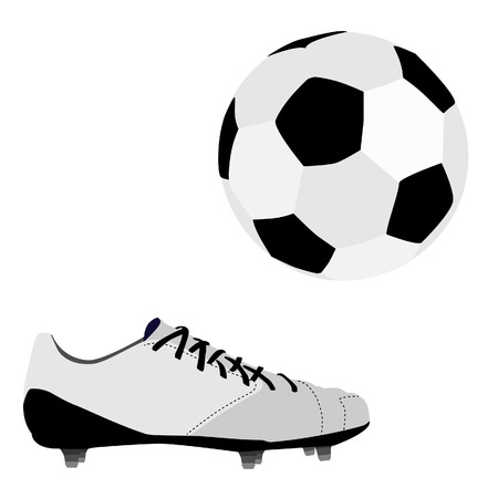 football shoe: Football ball and white sport shoe, soccer ball and shoe vector isolated
