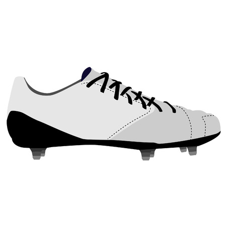 White spiked football shoe, football boots, american football shoe, sport shoe, vector isolated