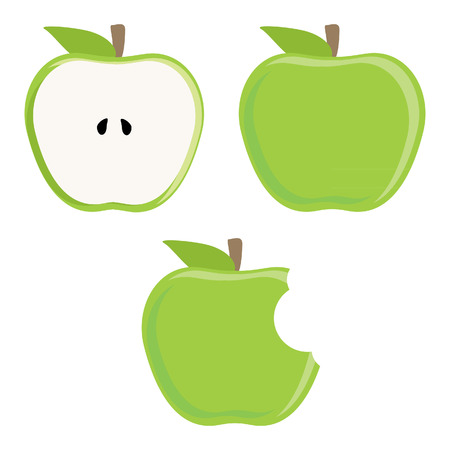 apple bite: Whole green apple, half apple and bitten apple vector set, fresh fruit, healthy food