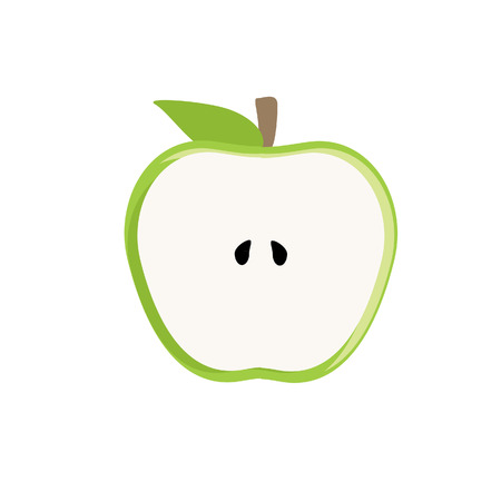 apple slice: Half green apple vector isolated, green apple slice, fresh fruit, healthy food