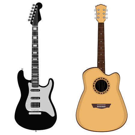 Brown acoustic and black electric rock guitar vector set