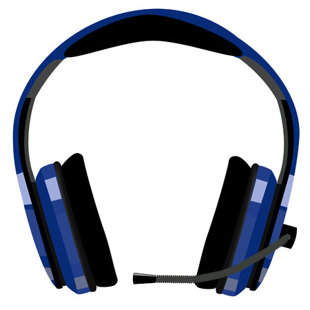 Blue headphones with microphone, support icon, customer support, computer support, call center icon vector isolated Illustration