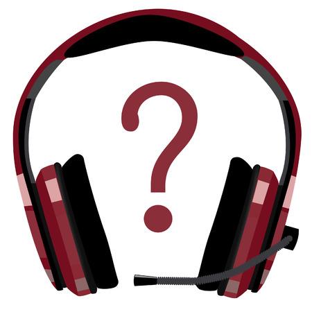 computer support: Cuffie rosse con microfono, supporto icona, assistenza clienti, supporto informatico, call center vettore icona isolato Vettoriali