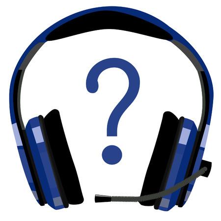 computer support: Cuffie blu con microfono, supporto icona, assistenza clienti, supporto informatico, call center vettore icona isolato