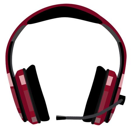 computer support: Cuffie rosse con microfono, assistenza clienti, supporto icona, supporto informatico, call center vettore icona isolato Vettoriali