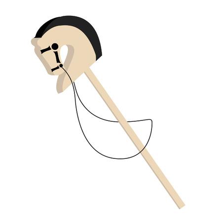 head toy: Stick horse toy vector, kid horse, horse head, hobby horse, baby toy Illustration