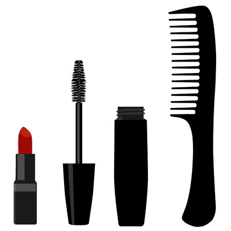 lipstick tube: Black mascara with brush, comb silhouette and red lipstick vector set, fashion