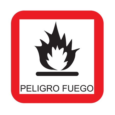 burnable: Warning sign with text in spanish fire risk vector isolated Illustration