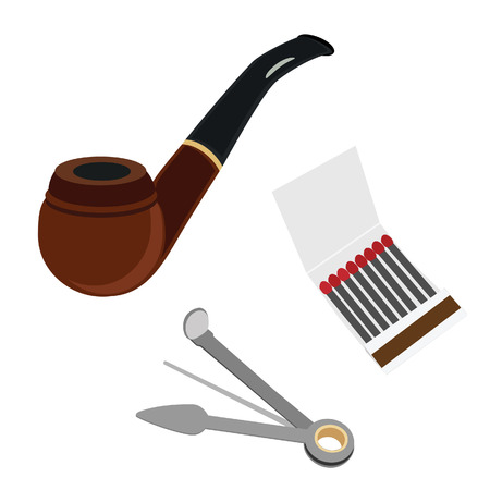 reamer: Smoking pipe, cleaning tool and matchsticks vector set