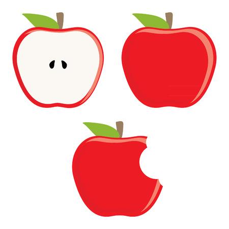 전체 빨간 사과, 절반 사과 물린 사과 벡터 설정, 신선한 과일, 건강 식품