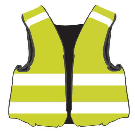 safety jacket: Yellow safety vest vector isolated, protective workwear, worker