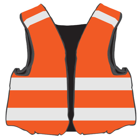workwear: Orange safety vest vector isolated, protective workwear, worker