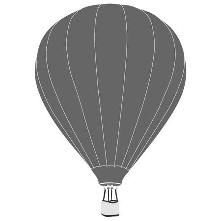 air sport: Grey vintage hot air balloon with basket vector icon isolated, summer sport