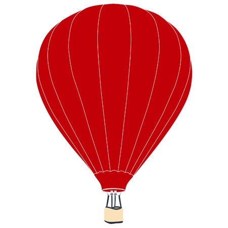 air sport: Red vintage hot air balloon with basket vector icon isolated, summer sport