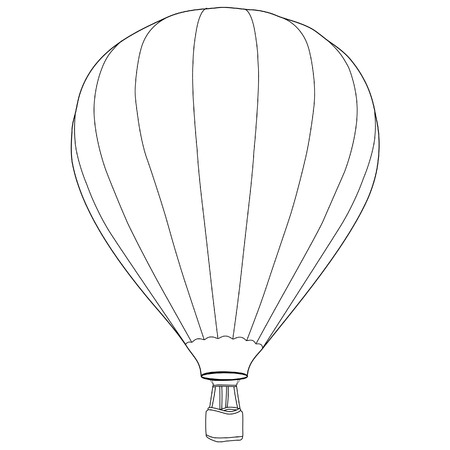 air sport: Vintage hot air balloon with basket vector icon isolated, summer sport, outline drawings