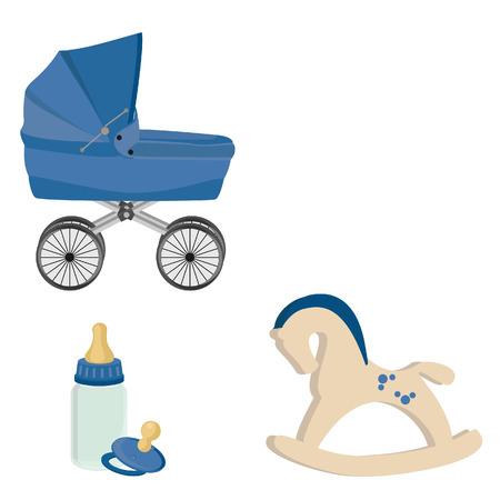 Baby boy blue perambulator, bottle, nipple and rocking horse vector icon set Vector