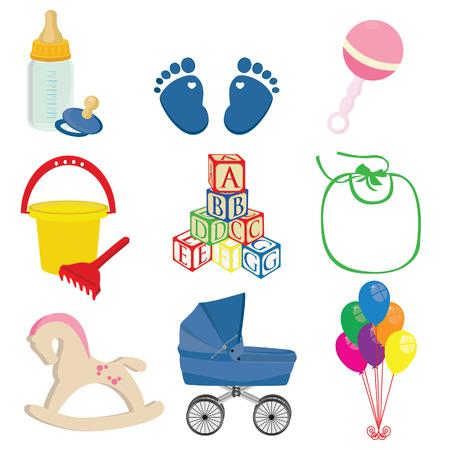 perambulator: Baby Vector set di icone blu neonato impronte, pettorina, blocchi, cavallo a dondolo, palloncini, carrozzina, sonaglio rosa, secchio con rastrello Vettoriali