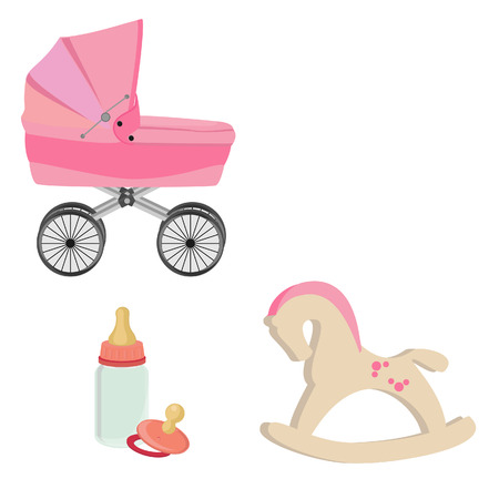 nipple girl: Baby girl pink perambulator, bottle, nipple and rocking horse vector icon set Illustration