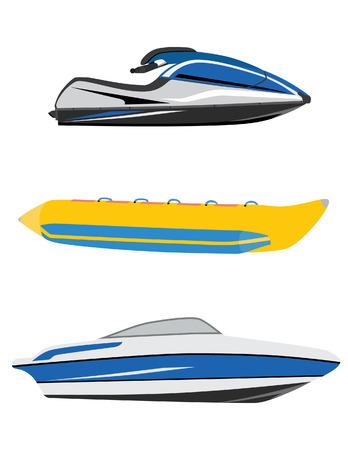 barco caricatura: Barco de transporte de agua de plátano, barco de lujo y motos de agua, jet ski icono vector conjunto aislado, deporte acuático