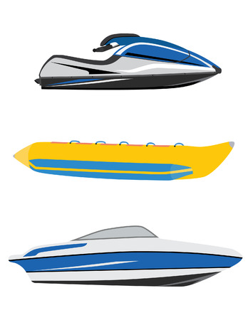 Water transport banana boat, luxury boat and water scooter, jet ski vector icon set isolated , water sport