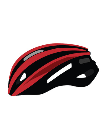 head protection: Red bicycle helmet vector isolated, bike helmet,sport equipment, head protection