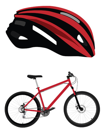 bicycle race: Red bicycle sport transport and bicycle helmet vector icon isolated , vintage bicycle,bicycle race, healthy activity Illustration