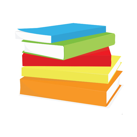 Stack of books blue, green,red,orange and yellow vector isolated , pile of books, book spine