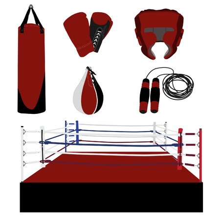 boxing ring: Vector boxing icon set- boxing ring, gloves, helmet, jumping rope, punching bag, speed bag Illustration
